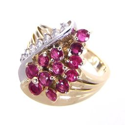SELECT JEWELRY ring · ring 8.6g K18 / Pt900 ruby ​​1.26ct diamond 0.21ct 11 number ladies 【903】