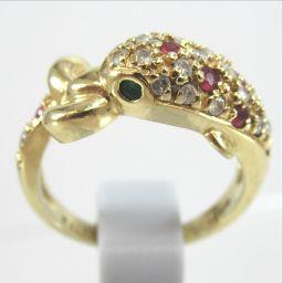 SELECT JEWELRY  イルカ リング・指輪 5.4g K18YG ダイヤモンド0.22ct エメラルド0.05ct ルビー0.26ct 11号 レディース