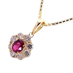 SELECT JEWELRY non-heating necklace 4.2g K18 non-heating ruby ​​0.34ct diamond 0.62ct Ladies [004]
