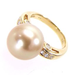 SELECT JEWELRY Ring / Ring 7.6g K18 Gold Pearl Diamond 0.21ct 14.5 No. Ladies [001]