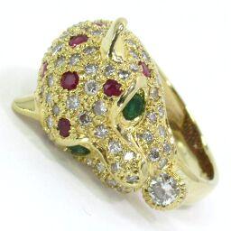 SELECT JEWELRY Panther Motif Ring / Ring 11.8g 750 (K18) Diamond Ruby Emerald No. 11.5 Ladies [101]