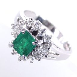 SELECT JEWELRY  リング・指輪 5.4g Pt900 エメラルド0.47ct ダイヤ0.32ct 11号 レディース【004】