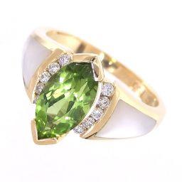 SELECT JEWELRY  KABANA リング・指輪 6.9g 750(K18) ペリドット ダイヤ シェル 14号 レディース【004】