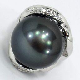 SELECT JEWELRY  リング・指輪 15.5g K18WG 真珠 ダイヤモンド0.08ct 12.5号 レディース【004】