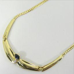 SELECT JEWELRY  ネックレス 17.3g K18 サファイア ダイヤモンド0.055ct レディース【906】