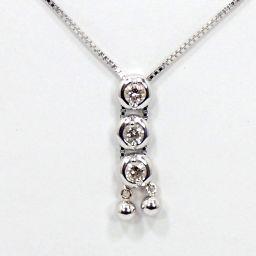 SELECT JEWELRY  ループタイ式 ネックレス 4.4g K18WG ダイヤモンド0.30ct レディース【002】