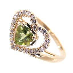 SELECT JEWELRY  ハートモチーフ リング・指輪 2.3g K18/ペリドット/ダイヤモンド ペリドット0.50ct ダイヤ0.16ct 11号 レディース【105】