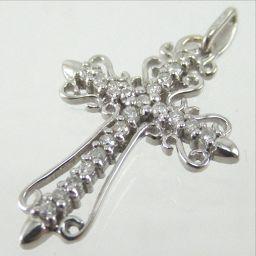 SELECT JEWELRY  クロス ペンダント 1.6g K18WG ダイヤモンド0.15ct ユニセックス【1811】