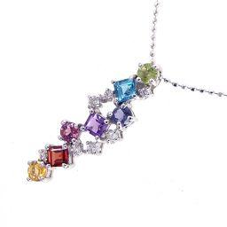 SELECT JEWELRY necklace 3.1g K18WG multi stone diamond 0.11ct Ladies [911]