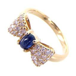 SELECT JEWELRY Ribbon Motif Ring & Ring 3.5g K18 Sapphire Diamond 0.23ct 10 Women's [911]