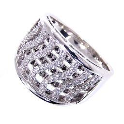 SELECT JEWELRY  透かしデザイン リング・指輪 9.8g K18WG ダイヤ0.32ct0.23ct 17号 レディース【006】