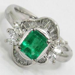 SELECT JEWELRY ring, ring 7.5g Pt900 Emerald 0.755ct diamond 0.47ct 12 ladies [911]