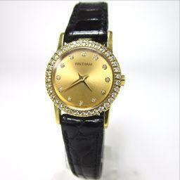 WALTHAM ウォルサム 95130.52 ベゼルダイヤ 12Pダイヤ 腕時計 K18/レザー レディース