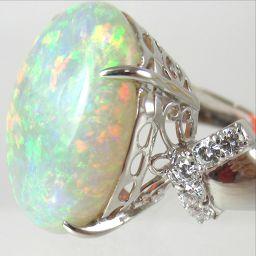 SELECT JEWELRY  リング・指輪 8.4g Pt900 オパール12ct ダイヤモンド0.12ct 12号 レディース【1810】