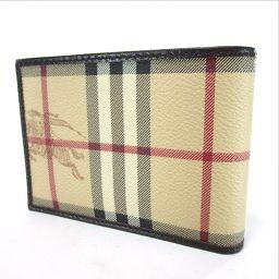 BURBERRY バーバリー チェック柄 二つ折り財布(小銭入れなし) キャンバス/レザー ユニセックス
