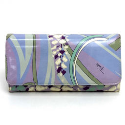 Emilio Pucci Folded Wallet Folding Purse Accessories Brand Goods Pucci Pattern Long Wallet (with coin purse) Patent Leather Blue Ladies