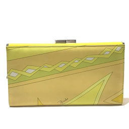 Emilio Pucci Emilio Pucci Folded Wallet Pucci Pattern Purse Long Wallet (with coin purse) Leather Yellow Ladies
