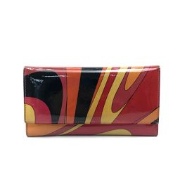 Emilio Pucci Emilio Pucci Long Folded Petite Pattern Coin Case Long Purse (with coin purse) Patent Leather Red Women