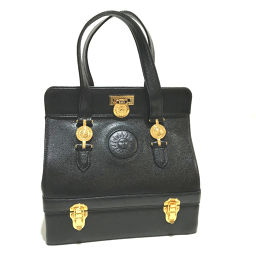VERSACE Versace vanity bag Sunburst Lock bracket Tote bag Leather Black Ladies