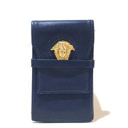 VERSACE ヴェルサーチ   メンズ レディース メデューサ タバコケース 小物入れ シガレットケース レザー ブルーxゴールド金具 ユニセックス