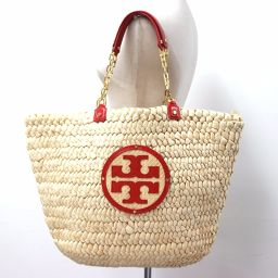 Tory Burch Tory Burch basket bag shoulder bag tote bag straw × leather red women [pre]