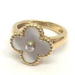 Van Cleef & Arpels ヴァンクリーフ&アーペル   ホワイトシェル 1Pダイヤリング アルハンブラ リング・指輪 K18YG ダイヤモンド 12号 イエローゴールド
