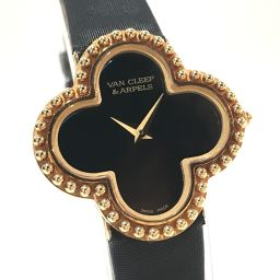 Van Cleef & Arpels ヴァンクリーフ&アーペル   136574 レディース腕時計 アルハンブラ 腕時計 K18PG/黒サテン ピンクゴールド レディース