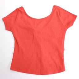 Zara Zara Tops Apparel Clothing Cut and Sew Crop Top Half Top Solid Color Short Sleeve T-shirt Orange Ladies