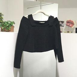 ZARA Zara Off Shoulder Long Sleeve Short Length Tops Others Black Women