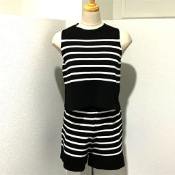ZARA Zara 3859 top and bottom tops & shorts border tag set setup black x white