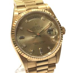 ROLEX ロレックス  18238G 10Pダイヤ K18無垢 デイデイト オイスターパーペチュアル 腕時計 K18YG/ダイヤモンド イエローゴールド メンズ【中古】