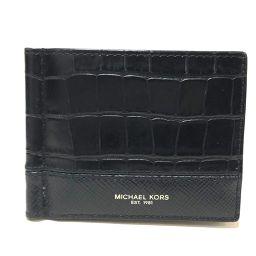 Michael Kors マイケルコース   短財布 マネークリップ付 クロコ型押し 二つ折り財布(小銭入れなし) レザー ブラック メンズ