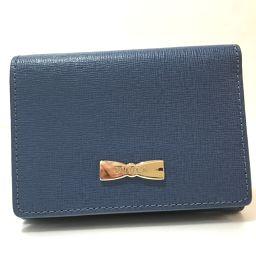 FURLA フルラ   財布 リボンモチーフ 三つ折り財布(小銭入れあり) レザー ブルー レディース