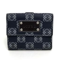 LOEWE ロエベ   Wホック 短財布 小物 ウォレット ポケッツ アナグラム 二つ折り財布(小銭入れあり) PVC×レザー ネイビー系 レディース