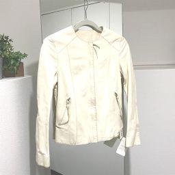 LOEWE ロエベ   S116816PK ジャケット アウター 革ジャン タグ有 ライダースジャケット ラムレザー ホワイト レディース