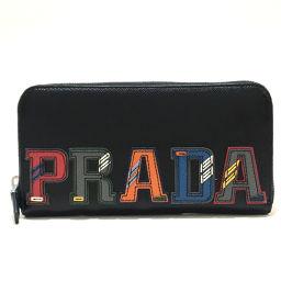 PRADA プラダ   2ML317 メンズ レディース ロゴパッチ ラウンドファスナー 長財布(小銭入れあり) サフィアーノレザー/ ブラック×マルチカラー ユニセックス