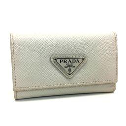 PRADA プラダ   M222A 6連キーケース メンズ レディース ロゴプレート キーケース サフィアーノレザー ホワイト ユニセックス