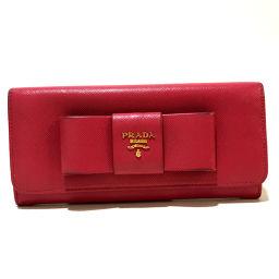 PRADA プラダ   1MH132 長財布 リボンモチーフ サフィアーノ 二つ折り財布(小銭入れあり) レザー ピンク レディース