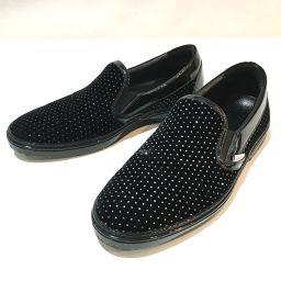JIMMY CHOO ジミーチュウ   靴 ラインストーン ローファー スニーカー スエード×パテントレザー ブラック メンズ