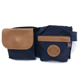 Orobianco Orobianco Belt Bag Hip Bag Waist Bag Men's Womens Body Bag Nylon x Leather / Navy Mens