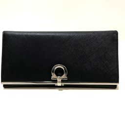 Salvatore Ferragamo サルヴァトーレフェラガモ   224633 二つ折り長財布 メンズ ガンチーニ 長財布(小銭入れあり) レザー ブラック×シルバー金具 メンズ