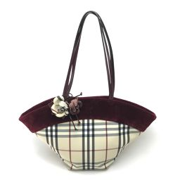 BURBERRY Burberry Plaid Tote Bag with Flower Charm PVC x Leather / Velor Bordeaux x Beige Ladies