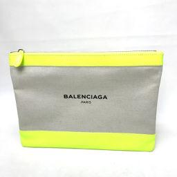 BALENCIAGA バレンシアガ   420407 ロゴ メンズ レディース クラッチバッグ キャンバス/レザー/ ネオンイエロー レディース