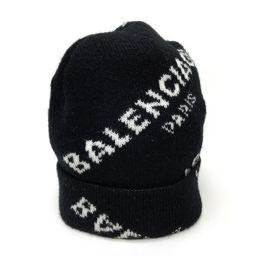 BALENCIAGA バレンシアガ   ニットキャップ  ニット帽 ジャガードロゴビーニー 2017AW メンズ レディース 帽子 ウール/ ブラック メンズ