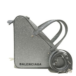 BALENCIAGA バレンシアガ   531048 2WAY ショルダーバッグ triangle duffle bag トライアングル ダッフル ハンドバッグ  シルバーラメ レディース