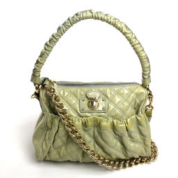 MARC JACOBS Marc Jacobs Handbag Shoulder Bag Shoulder Handbag Chain Shoulder Quilted Tote 2way Bag Patent Leather Gray Ladies