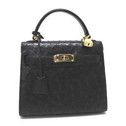 RODANIA Rhodania Handbag Ostrich Black Ladies [pre-owned]