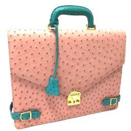 no brand ノーブランド   トートバッグ ハンドバッグ バイカラー ビジネスバッグ オーストリッチ ピンク系 レディース