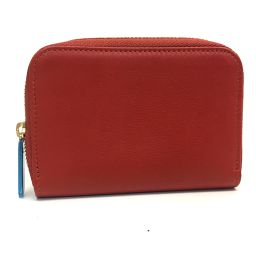 MORABITO Men Women's Women's Round Zip Wallet Coin Purse Coin Case Leather Red Unisex