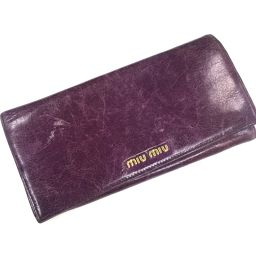 MIUMIU ミュウミュウ   ファスナー付き2つ折り長財布 長財布(小銭入れあり) レザー パープル レディース